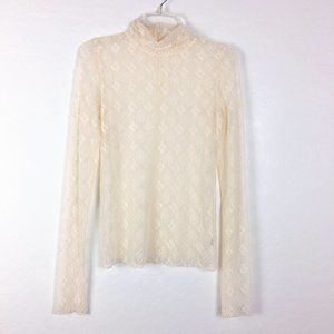 Free People Intimately Lace Sheer Long Sleeve Top